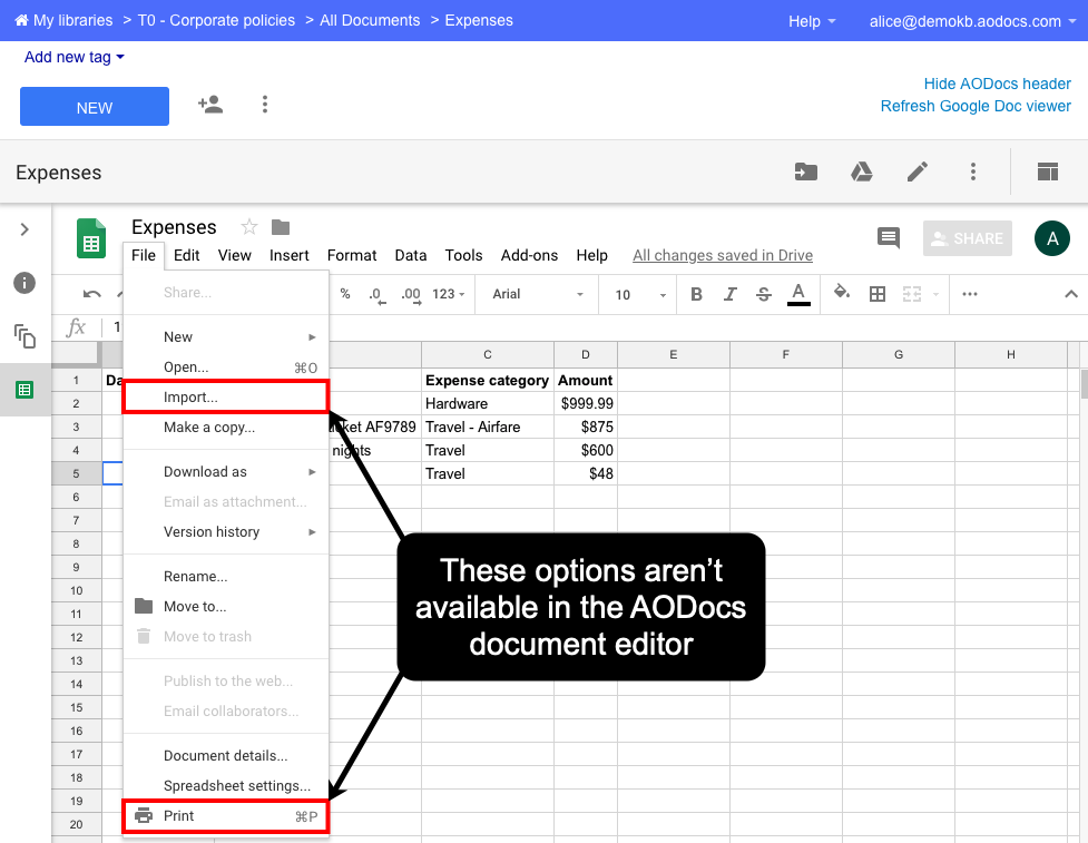 Google file attachments: limitations – AODocs Knowledge Base